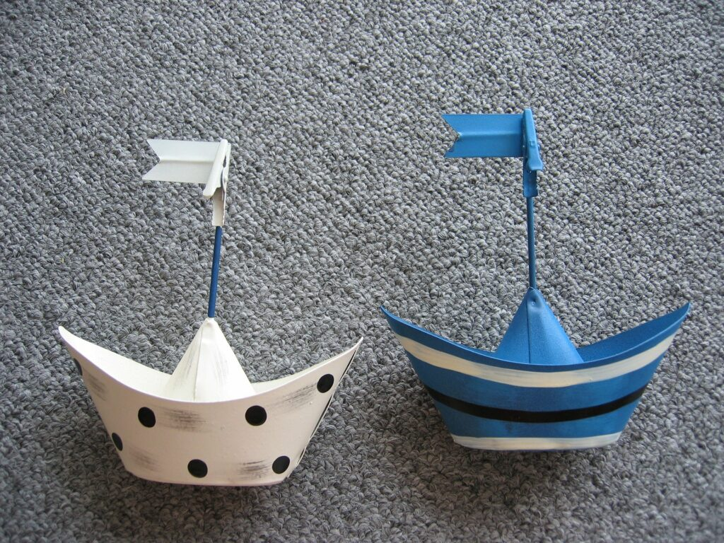 homemade boats in white and blue