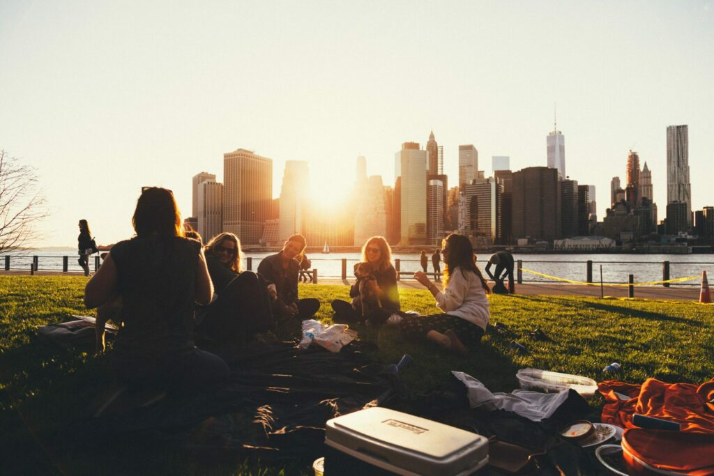 group of people sitting in grassy area with picnic